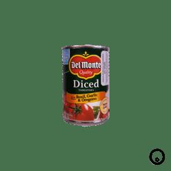 Tomates en Trocitos con Albahaca, Ajo y Orégano Del Monte 411 g