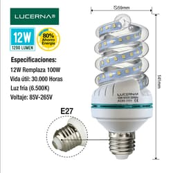 Bombillo Led Espiral 12w E27 6500k Lucerna